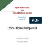 Edificios Altos de Mamposteria Juan Jose Perez Gavilán E. IIUNAM