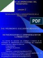 Operaciones EN EL SISTEMA DE TRANSPORTE CAPITULO 2 - INGENIERÍA DE TRANSPORTES