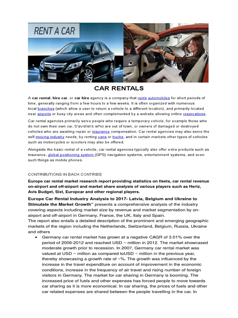 Car Rentals Car Rental Vehicles