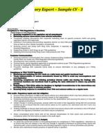 Regulatory Expert - Sample Cv 3