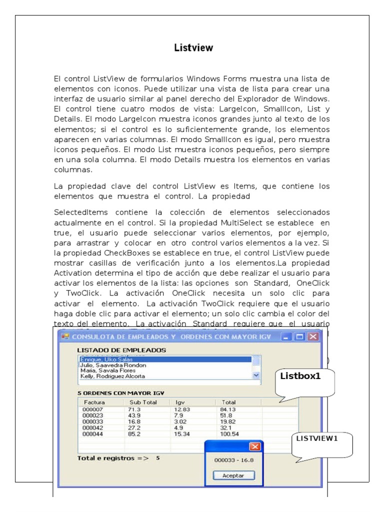 List View- Visual basic Net | Point And Click (Apuntar y