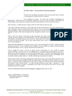 Letter From CBCP President on the Encyclical on the Environment