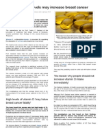 High Vitamin D Levels May Increase Breast Cancer Survival Last Updated