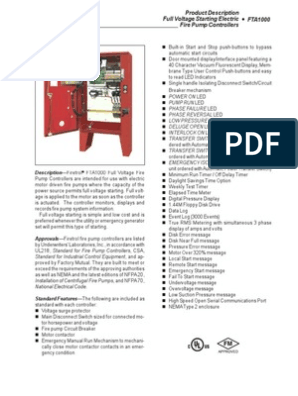 Fire Pump Controller-PEERLESS-Section 1520-1620 Data