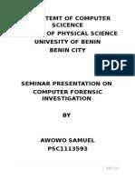 Departemt of Computer Scicence