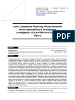 Does Cooperative Financing Method Influence Micro Credit Delivery an Empirical Investigation of South Western States of Nigeria