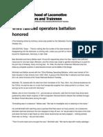 732nd WWII Railroad Operators Battalion Honored