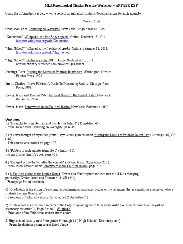 Mla Parenthetical Citation Practice Worksheet Answer Key – Mla Works Cited Worksheet