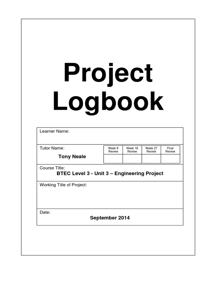 project logbook template evaluation educational technology