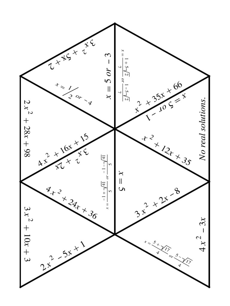 Quadratic Equations Puzzle – Quadratic Equations Worksheet with Answers