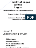 Power System Economics - Unilag Lecture Notes