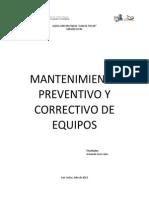 Mantenimiento Preventivo y Correctivo de Equipos