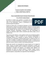Plan de Gobierno 2016 - 2019 concertado con la comunidad  por el Dr. Pablo John Trujillo