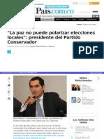 """La paz no puede polarizar elecciones locales"""""""