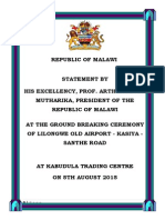 Statement by President Arthur Peter Mutharika at the Ground Breaking Ceremony of Lilongwe Old Airport - Kasiya - Santhe Road - Kabudula Trading Centre on 5th August 2015