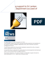 AFP Providing Support to Sri Lankan Government Department Accused of Torture