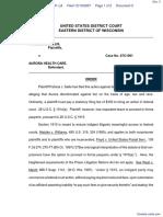 Sallis v. Aurora Health Care Inc - Document No. 3