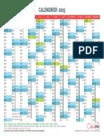 Calendrier Annuel Annee 2015 Jours Feries Vacances Scolaires