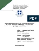 La Distribución del Patrimonio Cultural en la Provincia de Cautín, Región de la Araucanía. Una propuesta pedagógica y turística.