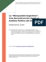 KLEIDERMACHER La Blanquedad Argentina Una Deconstruccion Desde El Analisis Político Del Discurso