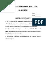 Hope Certificate