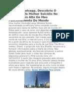 Graças Whatsapp, Descobriu O Romance Da Mulher Suicídio No Edifício Mais Alto de Mau Funcionamento Do Mundo