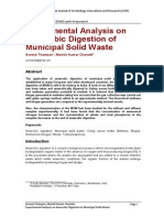 Experimental Analysis on Anaerobic Digestion of Municipal Solid Waste