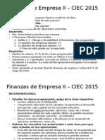 Finanzas de Empresa II – CIEC 2015 - Introducción y Recomendaciones.