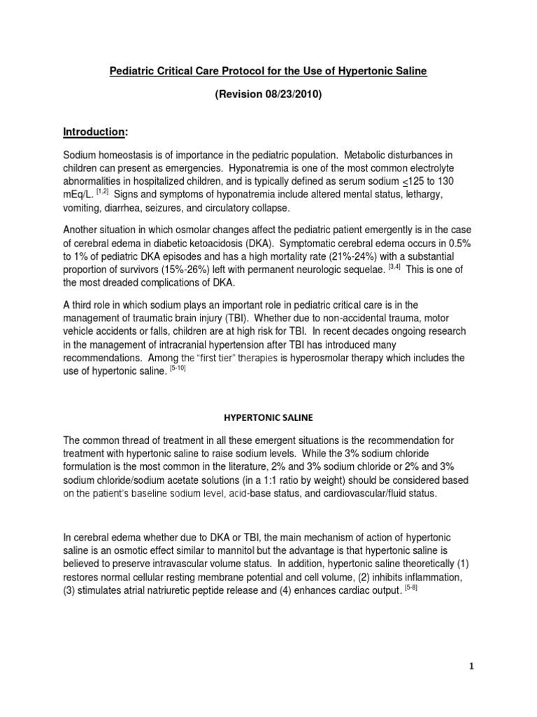 Hypertonic Saline PEDI Protocol Rev Aug 23 20101 | Saline (Medicine) |  Traumatic Brain Injury