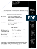 Sample of Resume