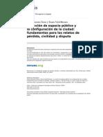 Barroeta y Vidal 82012) La Noción de Espacio Público y La Configuración de La Ciudad; Fundamentos Para Los Relatos de Pérdida, Civilidad y Disputa