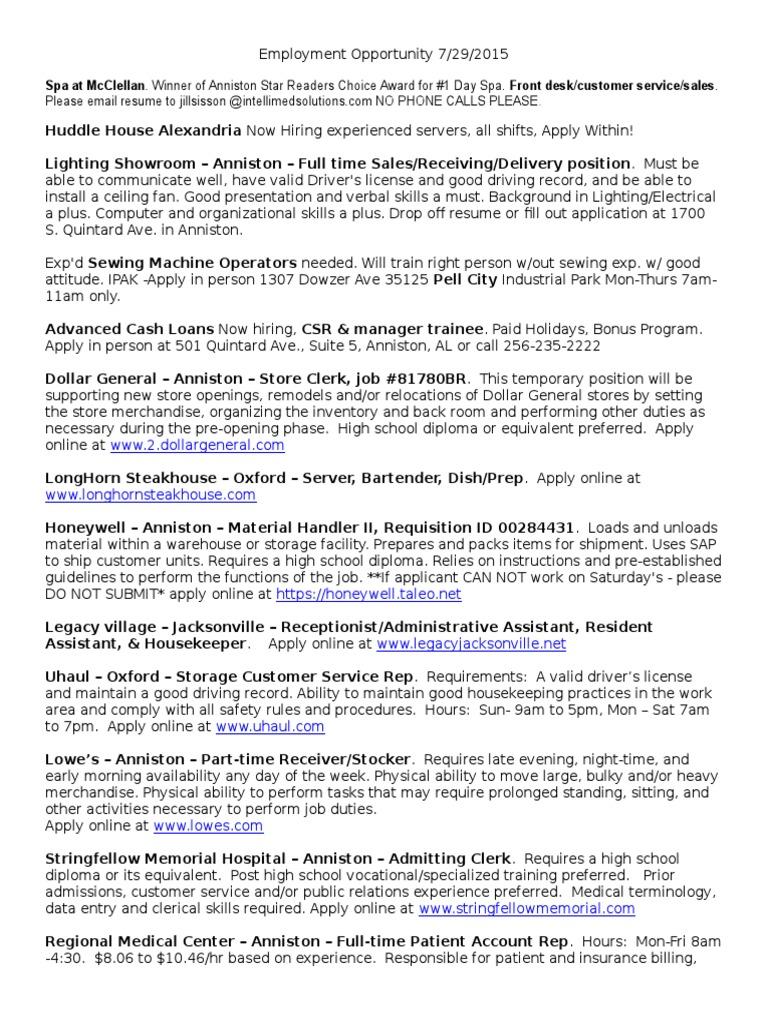 employment opportunities warehouse service industries