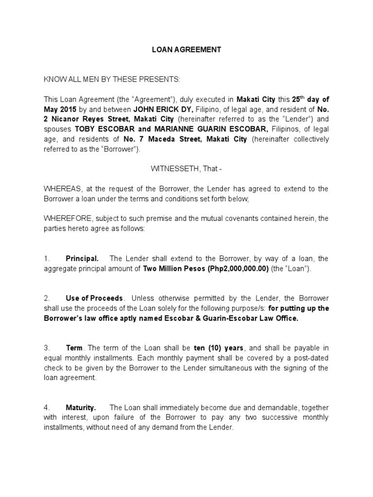1 Loan Agreement Dy Escobar Loans Interest