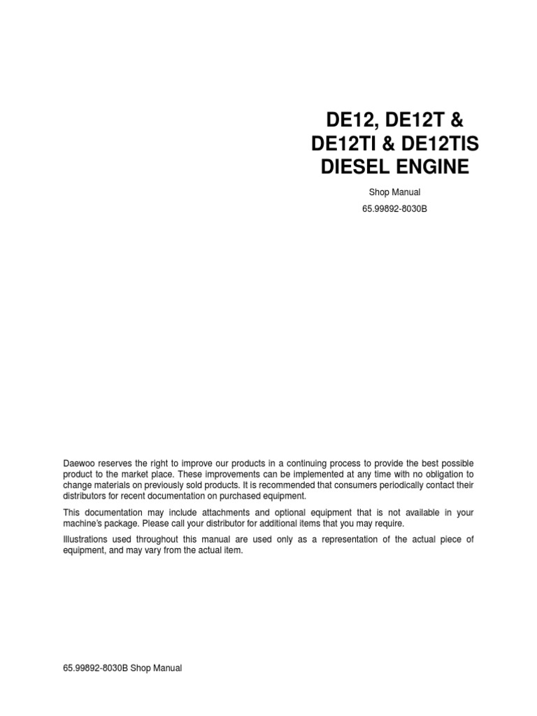 Doosan Daewoo Motor De12, De12t, De12ti & De12tis   Turbocharger   Internal  Combustion Engine