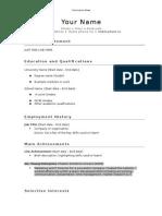 Curriculum Vitae Template SaveTheStudent