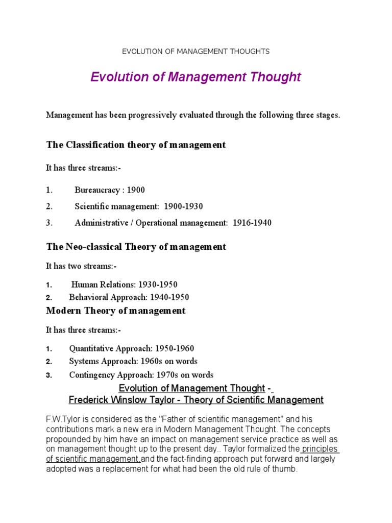 Evolution of Management Thoughts | Motivation | Autosuperación