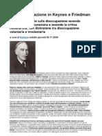La Disoccupazione in Keynes e Friedman