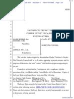 Mark Mishak v. Google, Inc. et al - Document No. 3