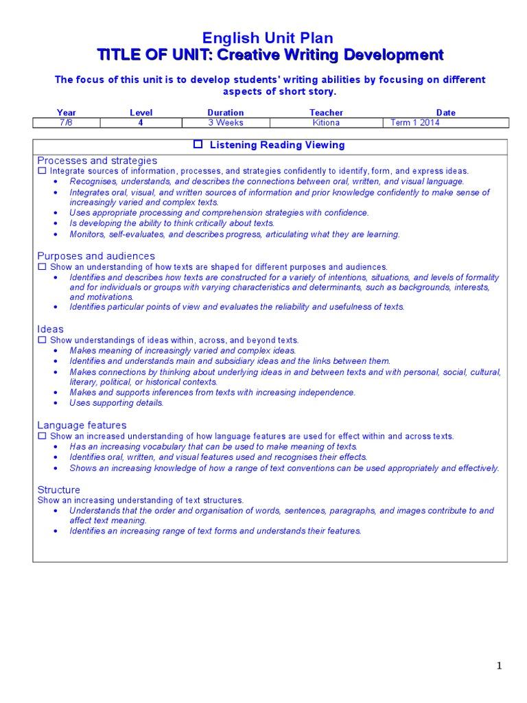 Creative Writing Unit Plan | Psychological Concepts
