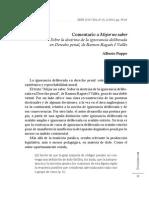 Comentario a Mejor No Saber Sobre La Doctrina de La Ignorancia Deliberada en Derecho Penal de Ramon Ragues i Valles Alberto Poppu
