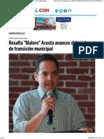 05-08-15 Resalta Maloro Acosta avances del equipo de transición municipal