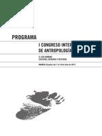 Programa I congreso internacional de antropologia aibr
