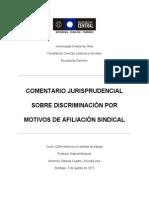 Comentario Jurisprudencial Sobre Discriminación Indebida Por Motivos de Afiliación Sindical