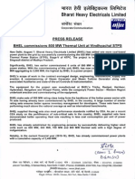 BHEL commissions 500 MW Thermal Unit at Vindhyachal STPS [Company Update]