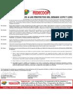 Resolución de FEDECOOP en rechazo a los P del S 1352 y 1370