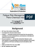 Fatigue Risk Management in the Petro-Chemical Industry
