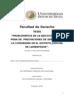Tesis Problematica de La Ejecucion de La Pena de Prestaciones de Servicios Ala Comunidad en El Distrtio Judiclal de Lambayeque