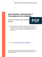 Ferrari, Fernando Jose;Guerrero, Jua... (2005). Neotomismo, Universidad y Psicoanalisis en Cordoba