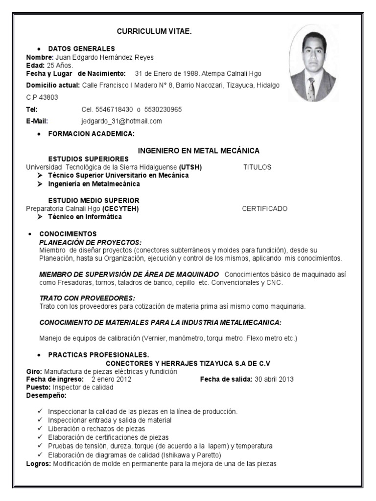 Excepcional Curriculum Vitae Para El Técnico De Mantenimiento ...