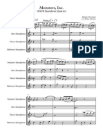 Monsters, Inc. (SATB Saxophone Quartet) - Score and Parts